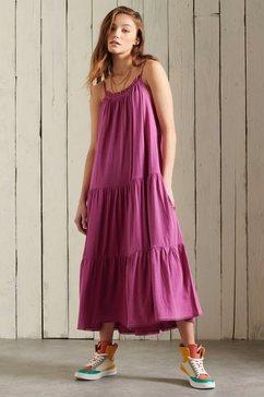 superdry midi-jurk jersey midi dress roze