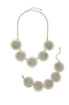 lascana sieradenset van ketting en armband met ornamentplaatjes (2-delig) goud