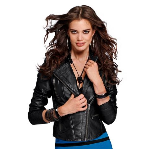 LAURA SCOTT Leren jack in bikerstijl