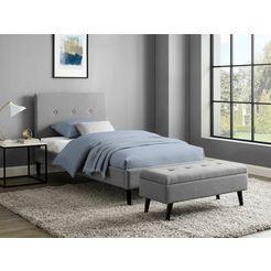 inosign slaapkamerbankje freya zitoppervlak doorgestikt, met opbergruimte grijs