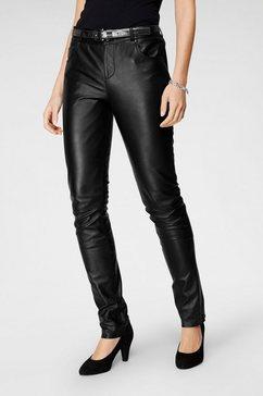 tamaris leren broek in five-pockets-look zwart