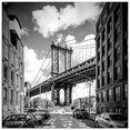 artland print op glas »new york city manhattan bridge« zwart