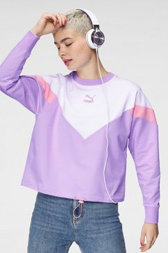 puma sweatshirt iconic mcs cropped crew paars