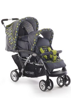 chic 4 baby dubbele kinderwagen duo grijs-groen grijs