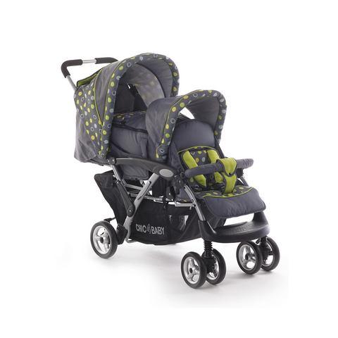 CHIC 4 BABY Dubbele kinderwagen Duo grijs/groen