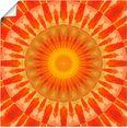 artland artprint mandala zonsondergang in vele afmetingen  productsoorten - artprint van aluminium - artprint voor buiten, artprint op linnen, poster, muursticker - wandfolie ook geschikt voor de badkamer (1 stuk) oranje