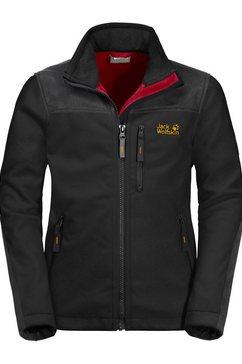 jack wolfskin softshell-jack »blizzard jacket kids« zwart