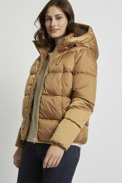 tom tailor denim winterjack »kurze pufferjacke mit kapuze« bruin