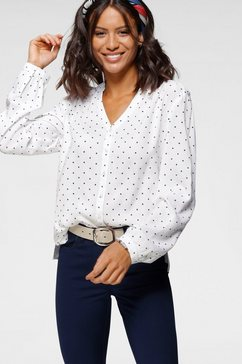 bruno banani blouse met lange mouwen met stippenprint wit