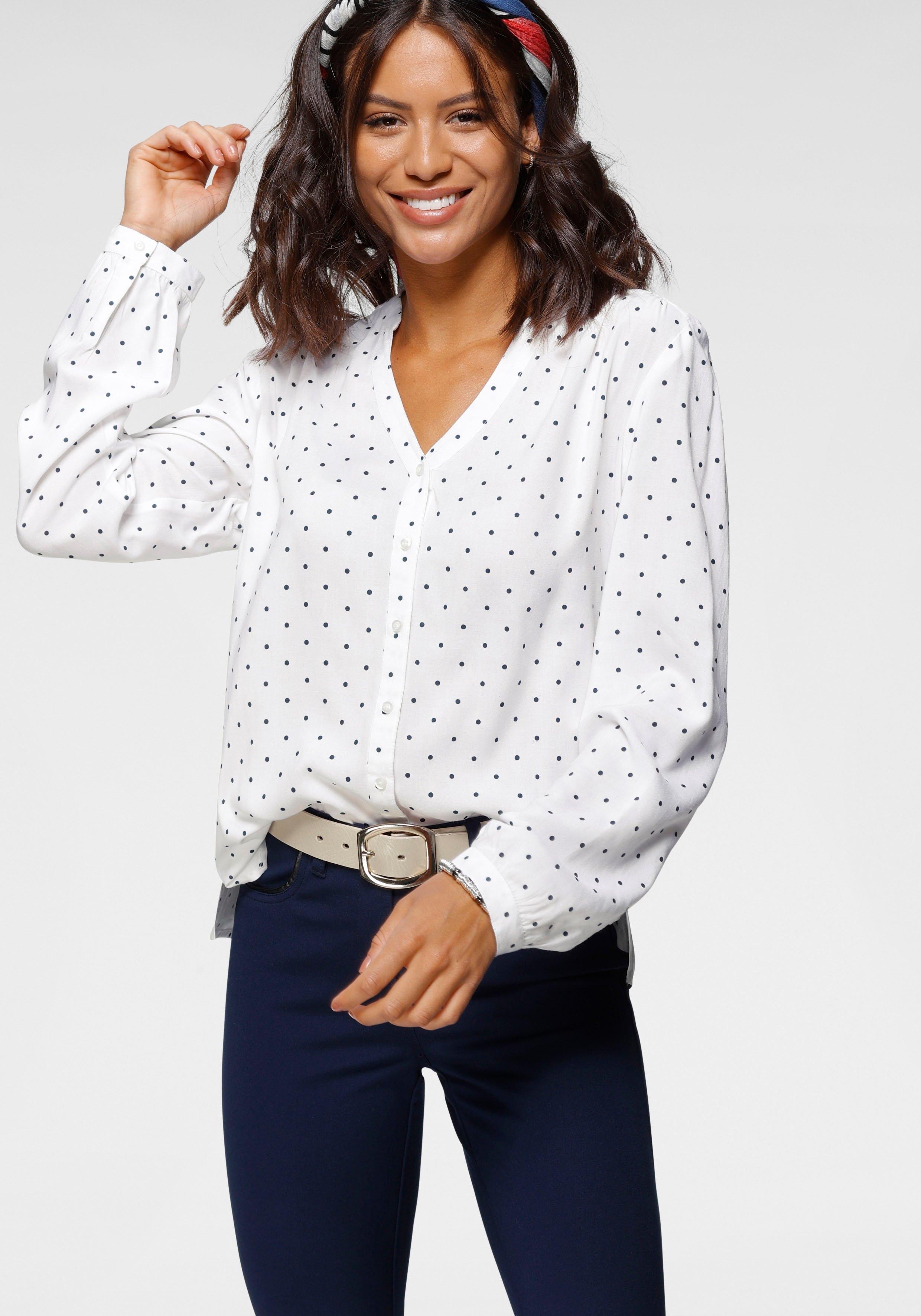 Bruno Banani blouse met lange mouwen met stippenprint bestellen: 30 dagen bedenktijd