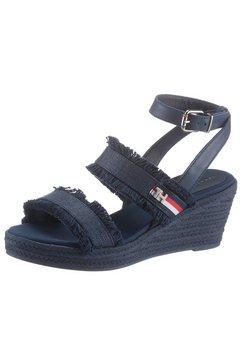 tommy hilfiger sandaaltjes »tommy fringes mid wedge sandal« blauw