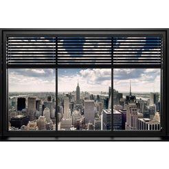 places of style artprint »new york - window blinds«, 90x60 cm grijs