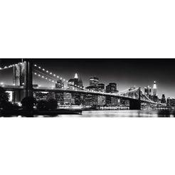 places of style artprint »new york - brooklyn bridge black  «, 90x30 cm zwart