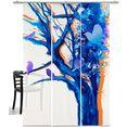 emotion textiles paneelgordijn boom van de vogels hxb: 260x60, inclusief bevestigingsmateriaal (3 stuks) multicolor