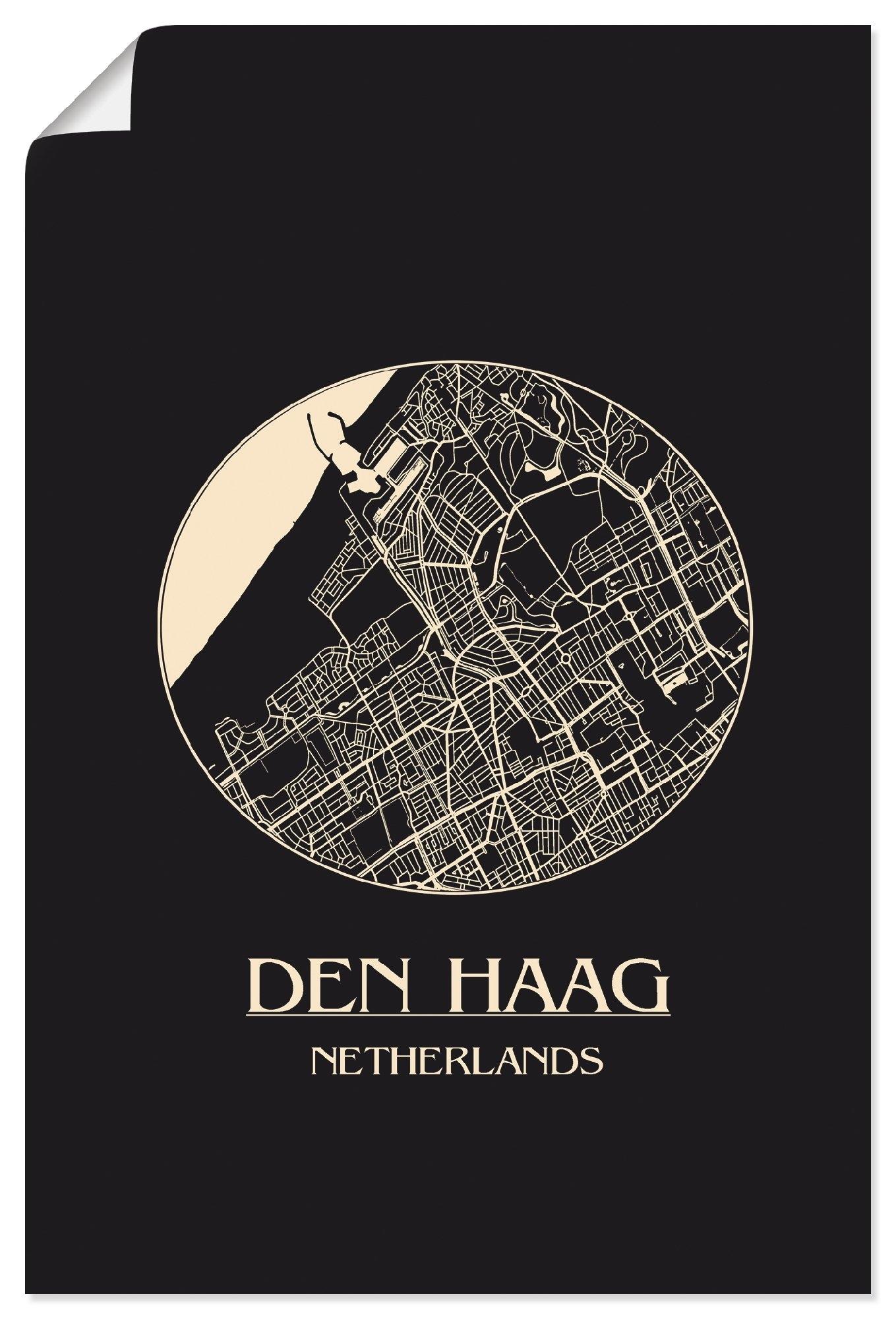 Artland artprint Retro kaart Den Haag cirkel in vele afmetingen & productsoorten - artprint van aluminium / artprint voor buiten, artprint op linnen, poster, muursticker / wandfolie ook geschikt voor de badkamer (1 stuk) - verschillende betaalmethodes