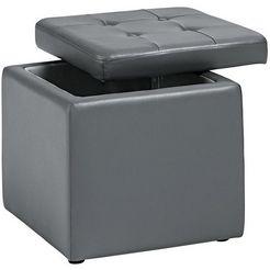 home affaire zitblok met een zacht beklede deksel grijs