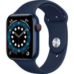 apple »series 6, gps + cellular, oled, touchscreen, 32 gb, 44mm« watch blauw