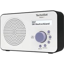 technisat digitale radio (dab+) viola 2 draagbare tweeregelig display, batterijvoeding mogelijk wit