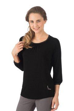trigema shirt met 3-4-mouwen en swarovski-kristallen zwart