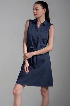 polarino blousejurkje met knoopsluiting en bindceintuur blauw