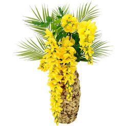 i.ge.a. kunstbloem bloemenenarrangement goudenregen met palmtak vaas van waterhyacint geel