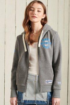 superdry sweatshirt collegiate athletic zipper met print grijs