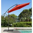 gartengut parasol »sunshine«, h-ø: 210-300 cm rood