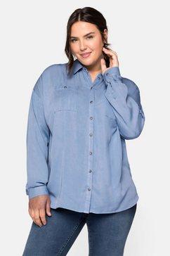 sheego blouse met lange mouwen blauw