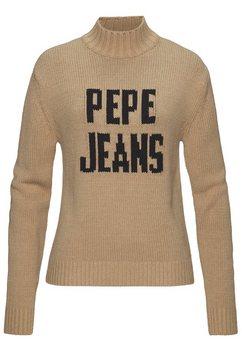 pepe jeans coltrui »carlotaro« bruin