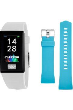 calypso watches smartwatch smartime, k8500-1 met verwisselbare armband (set, 2-delig, met lichtblauwe verwisselbare band) wit