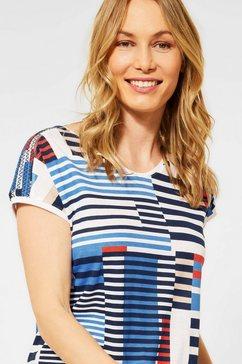 cecil shirt met v-hals met kleur- en strepenmix blauw
