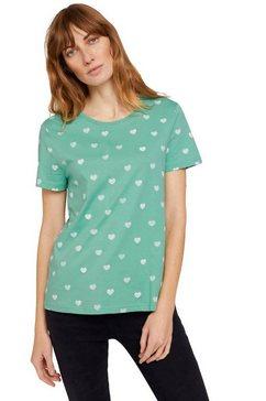 tom tailor t-shirt met modieuze print all-over groen