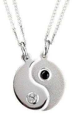 sieradenset: partnersieraden bestaand uit 2 halskettingen en hangers »ying yang« (4-dlg.) zwart