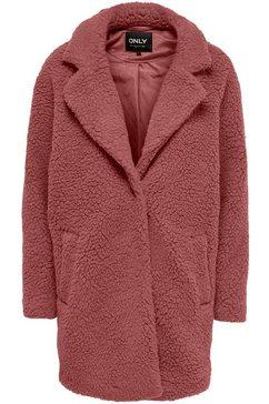 only korte jas onlaurelia van teddy-pluche rood
