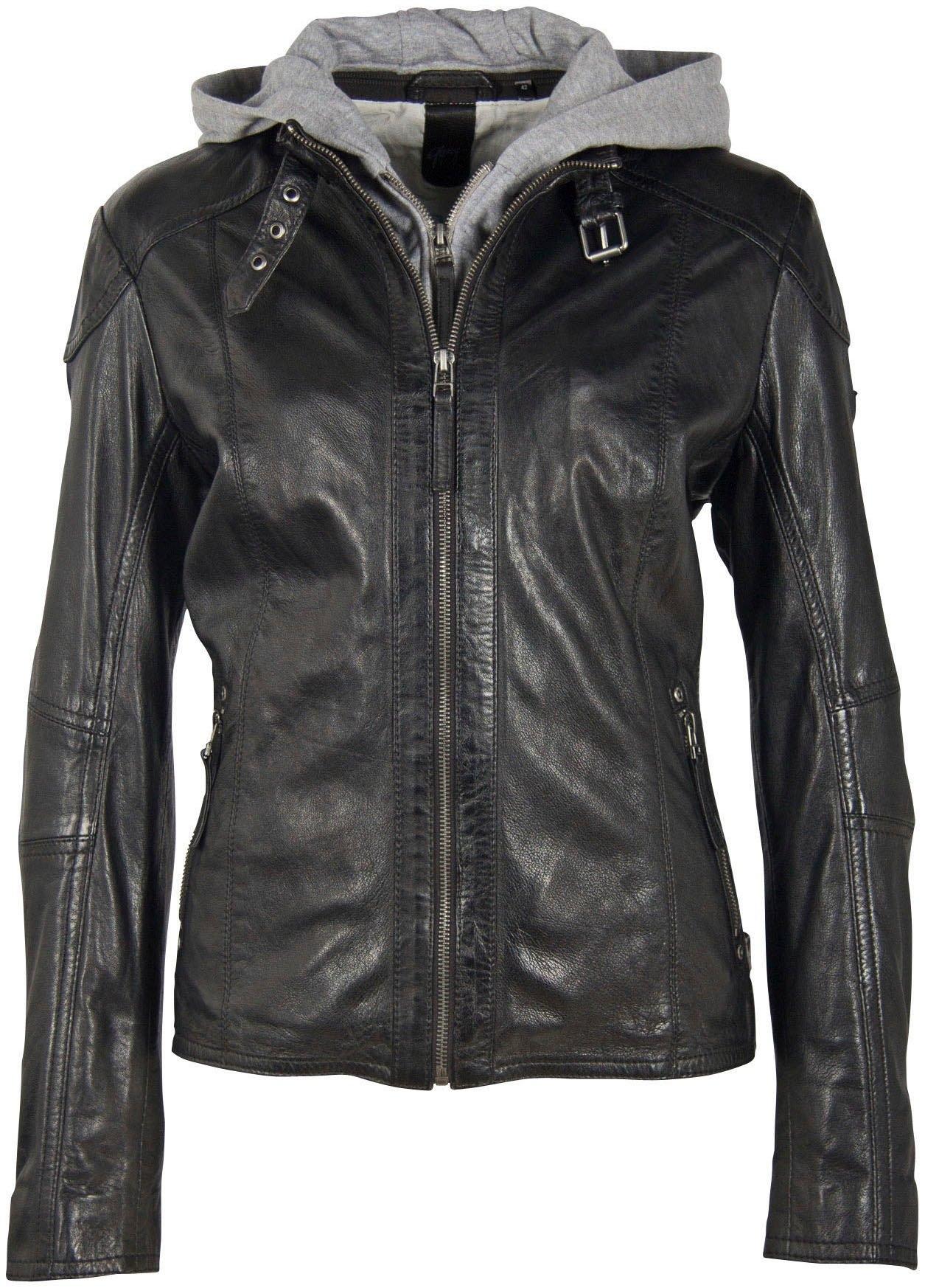 Gipsy leren jack Keyla comfort size Comfort size met biker-details & jerseycapuchon nu online bestellen