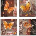 artland artprint op linnen vlinder 1-4 (4 stuks) bruin