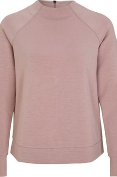 s.oliver black label sweatshirt met hoge ronde hals en raglanmouwen met splitje roze