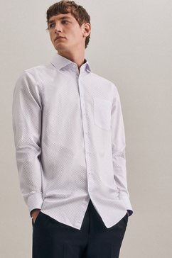 seidensticker businessoverhemd regular regular lange mouwen kentkraag print wit