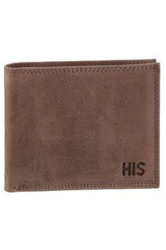 h.i.s portemonnee van hoogwaardig leer bruin