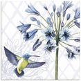 artland print op glas kolibrie dans ii (1 stuk) paars