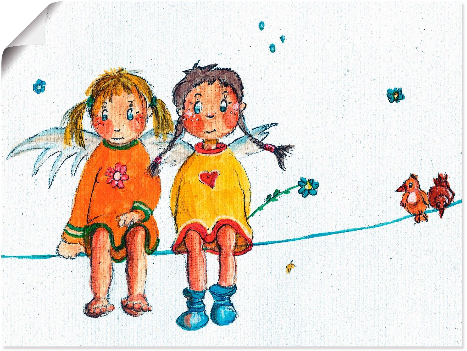 Artland artprint Twee engeltjes zitten op de waslijn in vele afmetingen & productsoorten -artprint op linnen, poster, muursticker / wandfolie ook geschikt voor de badkamer (1 stuk) goedkoop op otto.nl kopen