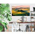 artprint op hout »deco block 70x118 tuscan valley« beige