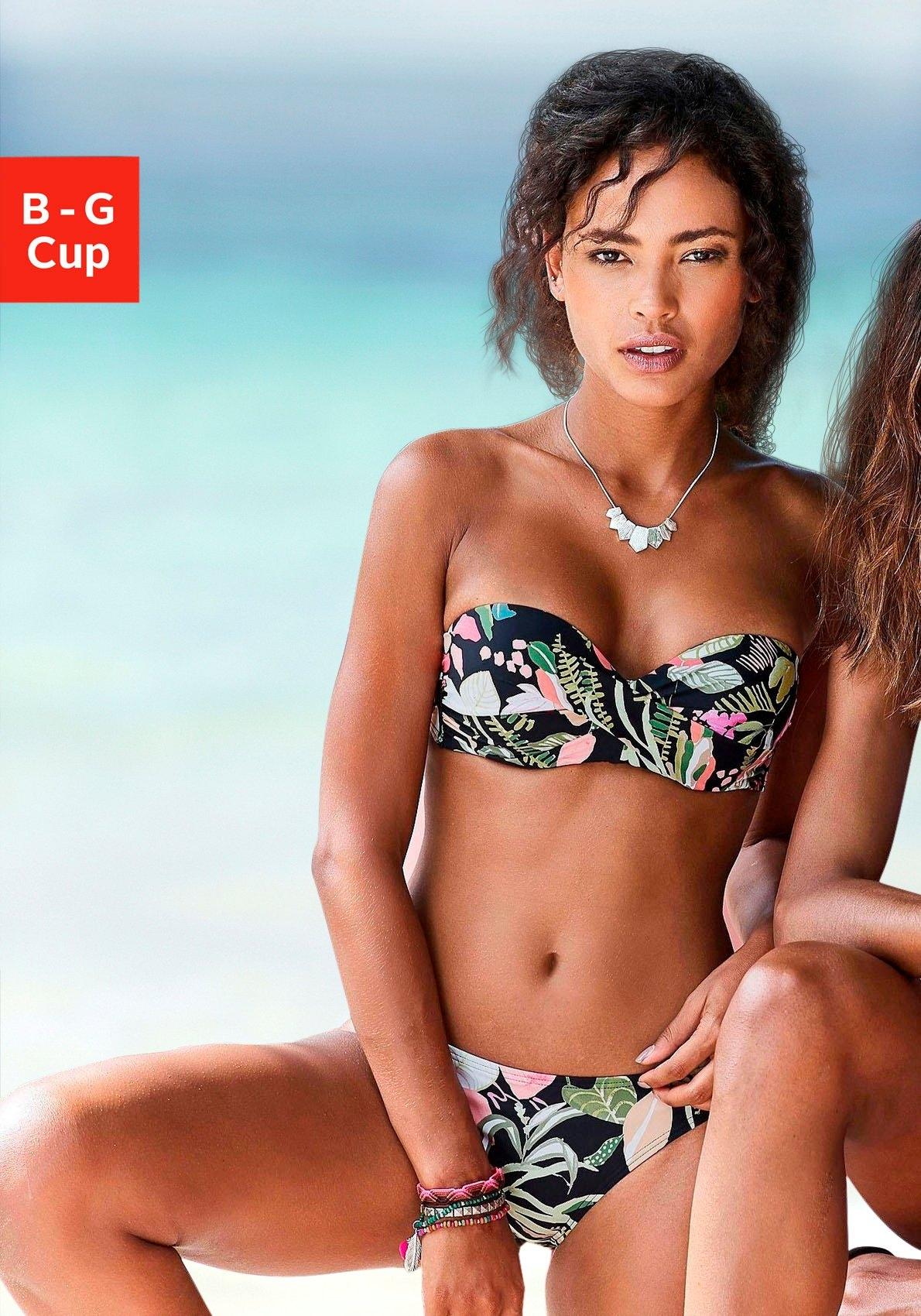 s.Oliver RED LABEL Beachwear Bandeau-bikinitop Herfst met een bloemmotief goedkoop op otto.nl kopen