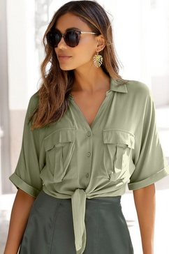 lascana blouse met korte mouwen met knoopdetail groen