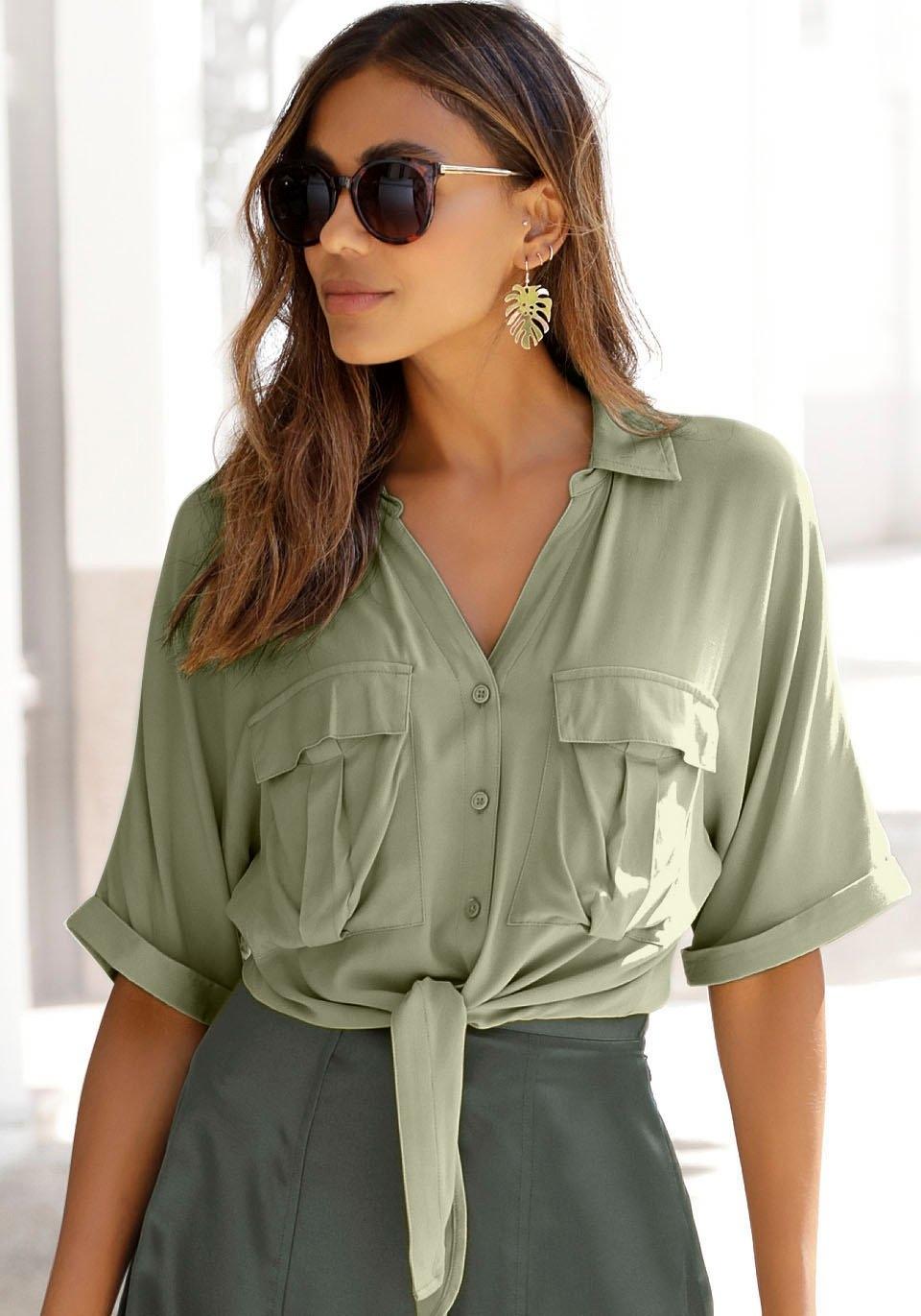 Lascana blouse met korte mouwen met knoopdetail goedkoop op otto.nl kopen
