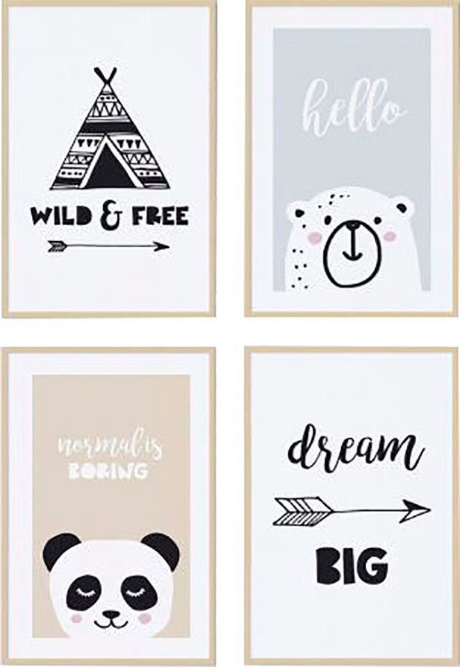 Reinders! Artprint Hello kids - premium poster set van 4 (set) veilig op otto.nl kopen