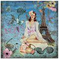 artland print op glas parijs - vintage lady illustratie (1 stuk) blauw