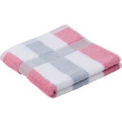 goezze handdoeken new york strepen met gestructureerde rand (2 stuks) roze