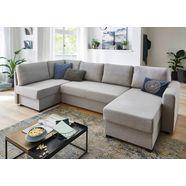 atlantic home collection zithoek met slaapfunctie, binnenveringsinterieur, bedkist, hoek en longchair aan beide kanten te monteren grijs