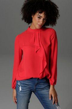 aniston casual blouse met lange mouwen met kleine volant voor rood